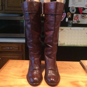 Coach Fayth Brown Leather Knee High Heeled Boots